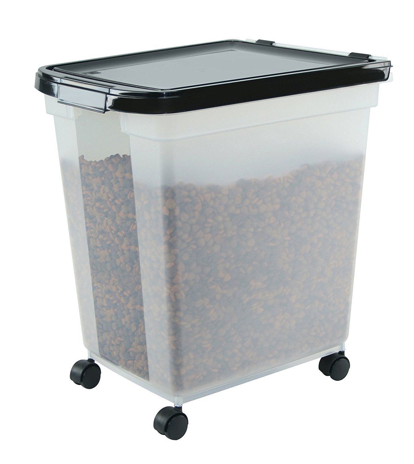 Iris Airtight Pet Food Container 50 Pound Clear Black Visit