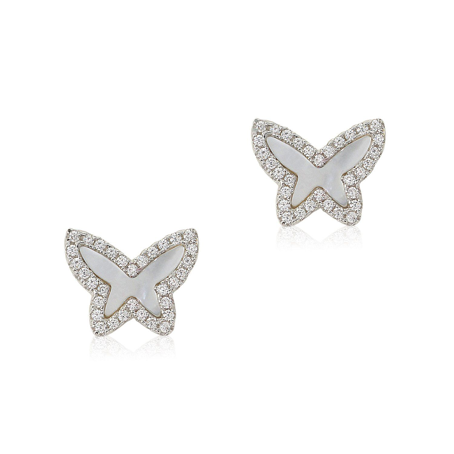 Photo of Sterling Silver CZ Mother of Pearl Butterfly Stud Post Earrings