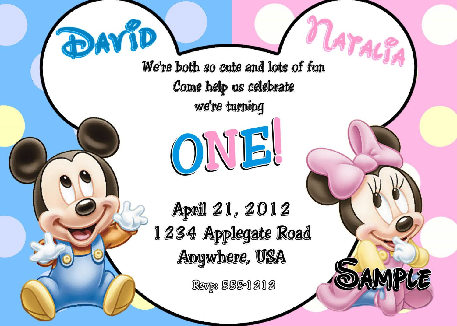 Baby Mickey Mouse Baby Minnie Mouse Twins 1st Birthday Invitations ...
