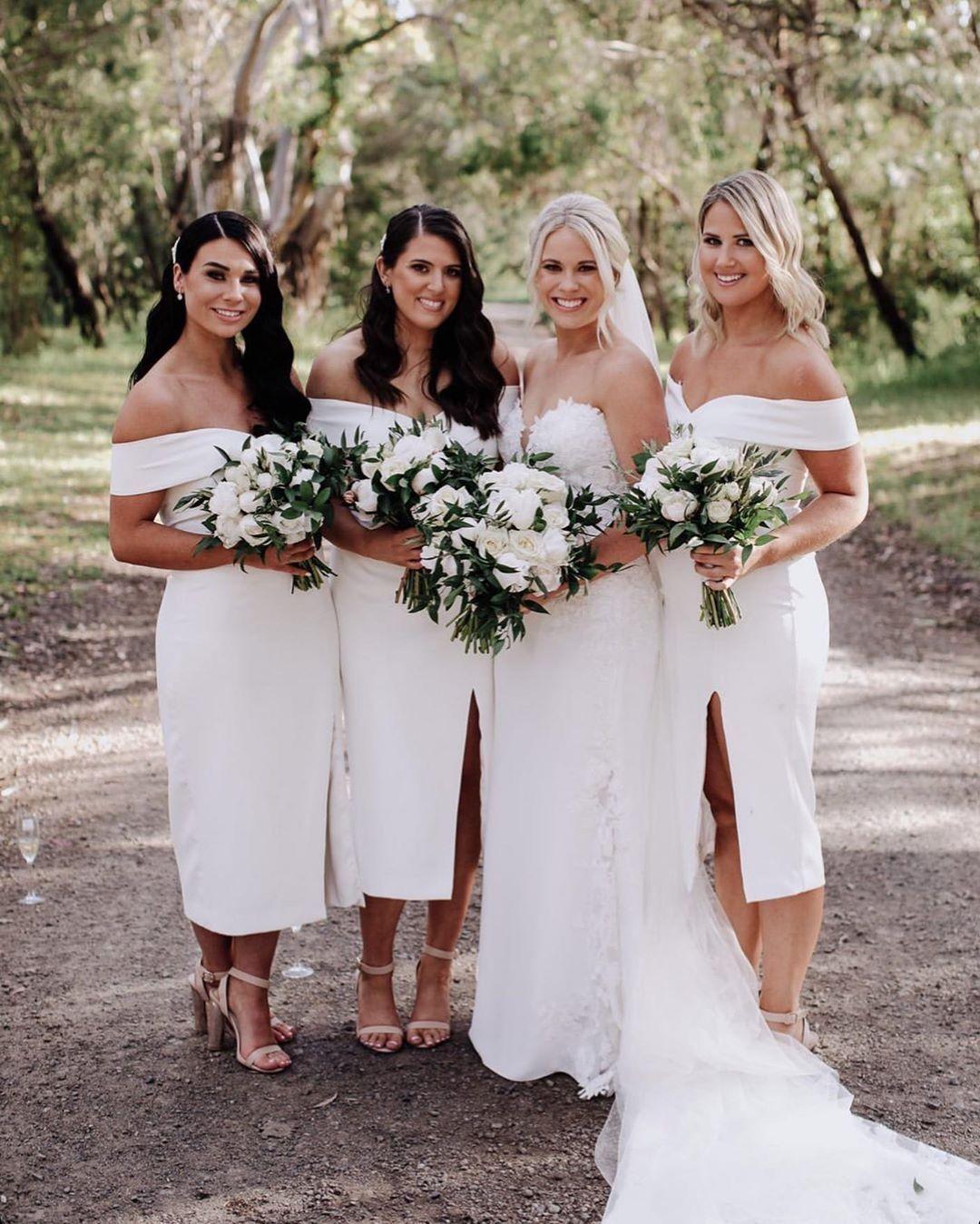 Beautiful Sheath Off The Shoulder White Tea Length Bridesmaid Dress Cheap Long Bridesmaid Dresses Tea Length Bridesmaid Dresses White Bridesmaid Dresses [ 1349 x 1080 Pixel ]