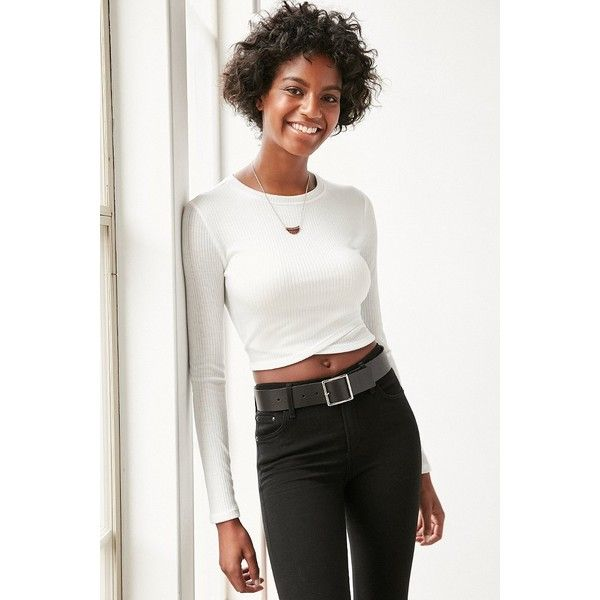 a4131bf7baa Silence + Noise Noelle Cropped Top ($39) ❤ liked on Polyvore featuring tops,  ivory, stretchy crop top, stretchy tops, cross front crop top, crop top and  ...