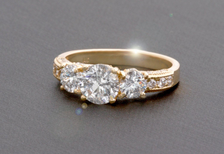 Three stone solitaire ring vintage antique design main