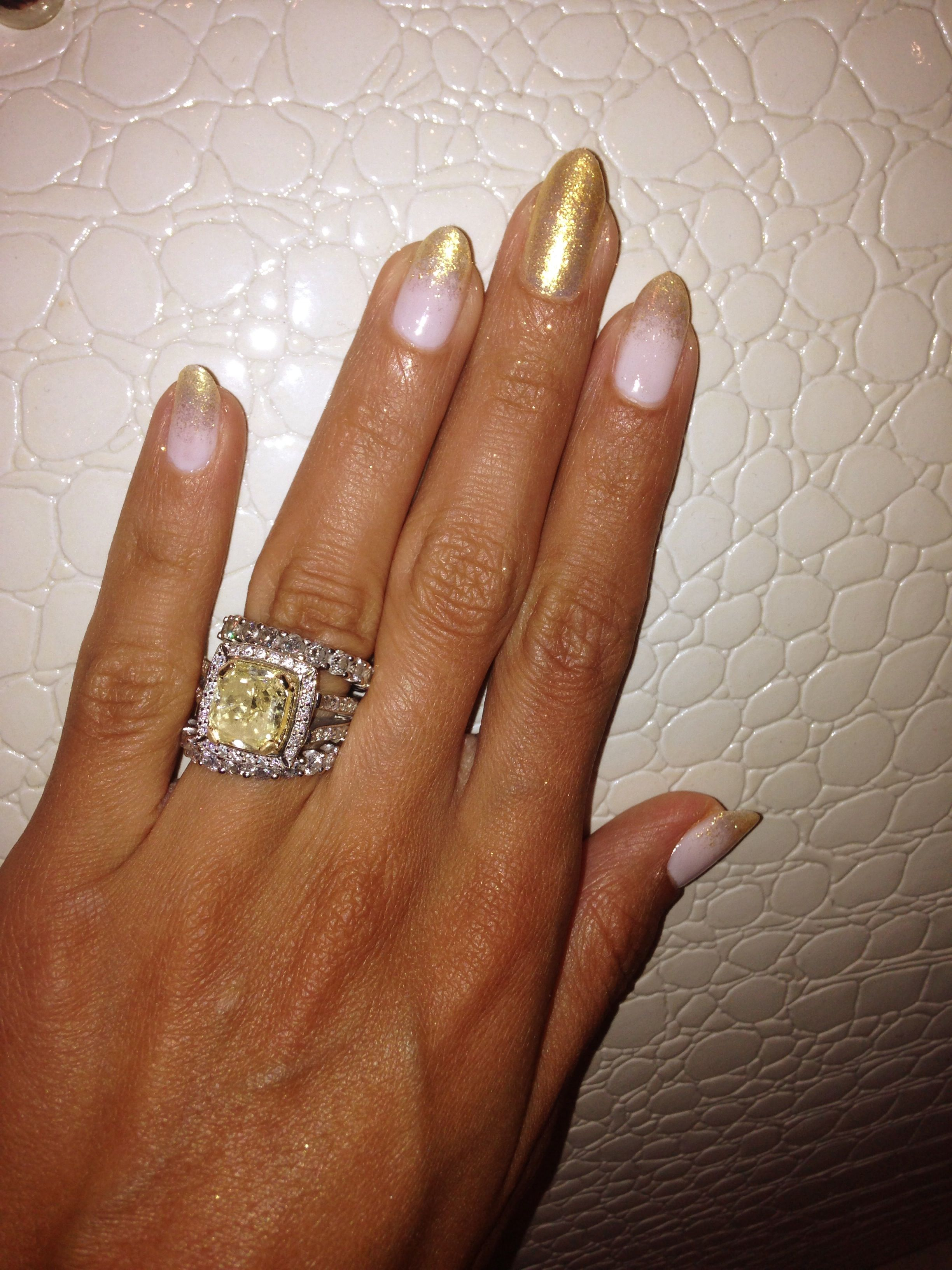 all are gold my acrylic rings manicures finger natural of pin pics nails mine wedding