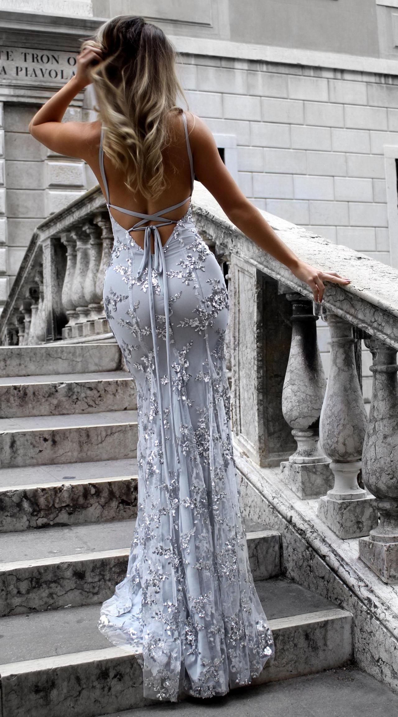 Sexy Silber Abendkleider Lang Günstig Sequins Spitze ...
