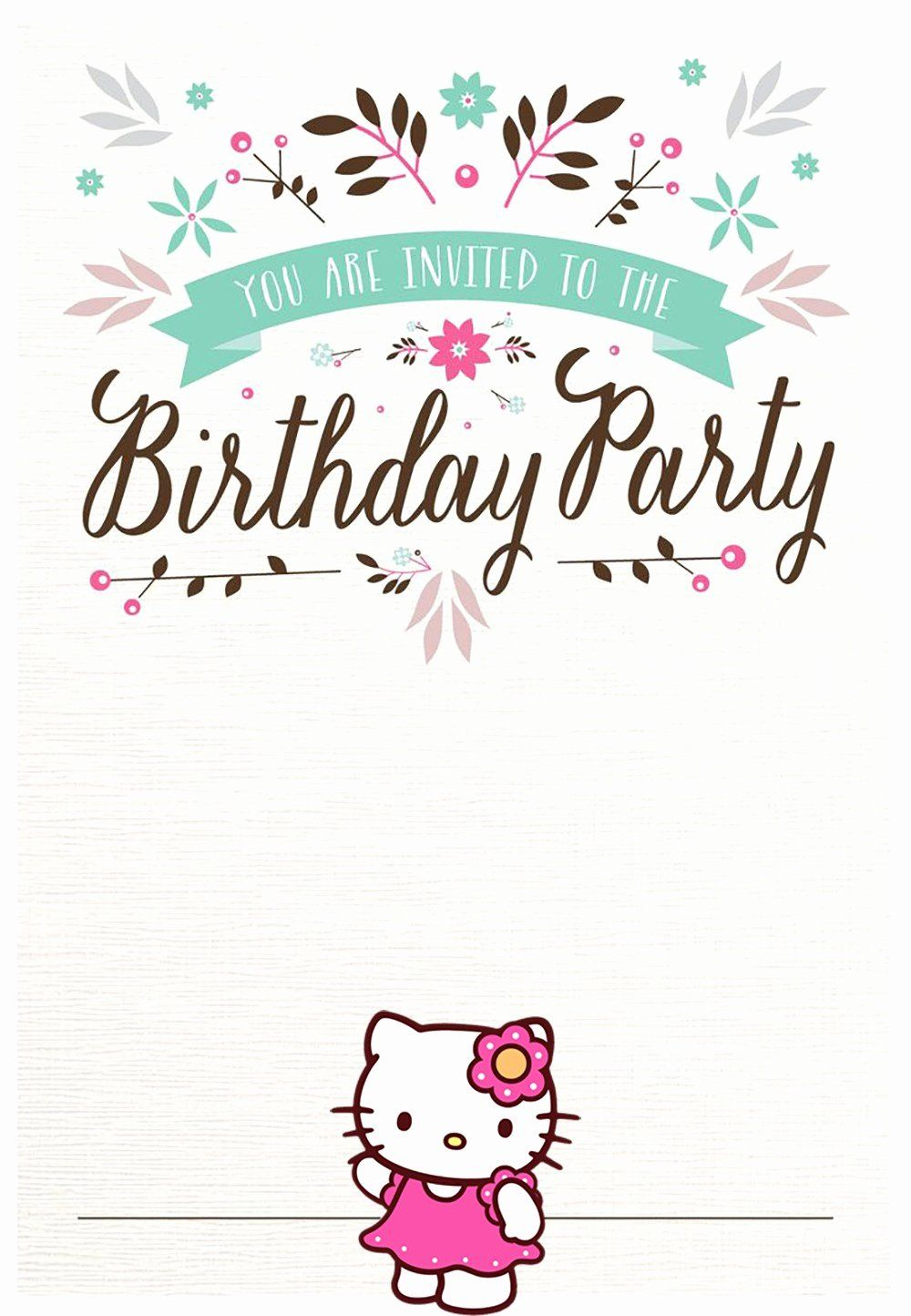 Hello Kitty Birthday Invitation Inspirational Hello Kitty Free P In 2020 Hello Kitty Birthday Invitations Hello Kitty Birthday Party Free Birthday Invitation Templates