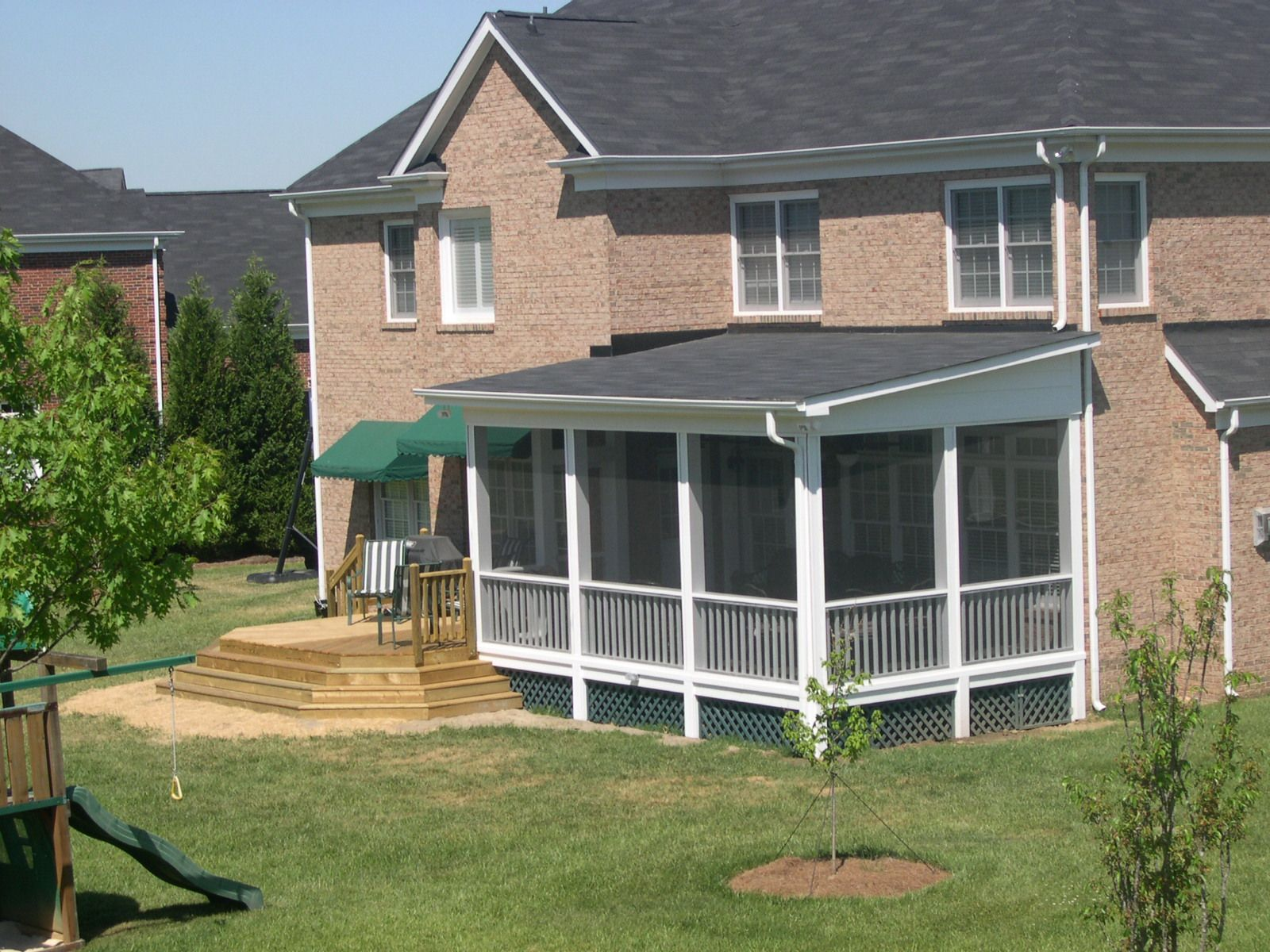 Back porch roof ideas - Shed Roof Green Lattice