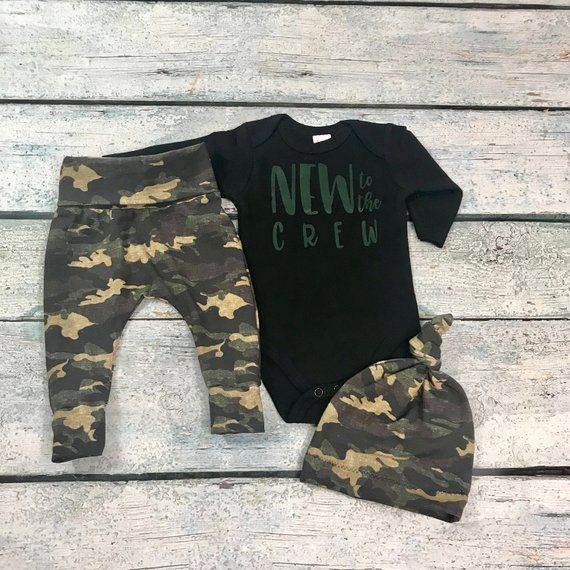 Photo of baby boy coming home outfit/ boy camo set/new to the crew outfit for boy