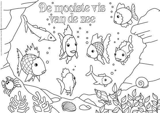 Kleurplaten Regenboogvis.Kleurplaat De Mooiste Vis Van De Zee 1 Thema Regenboogvis