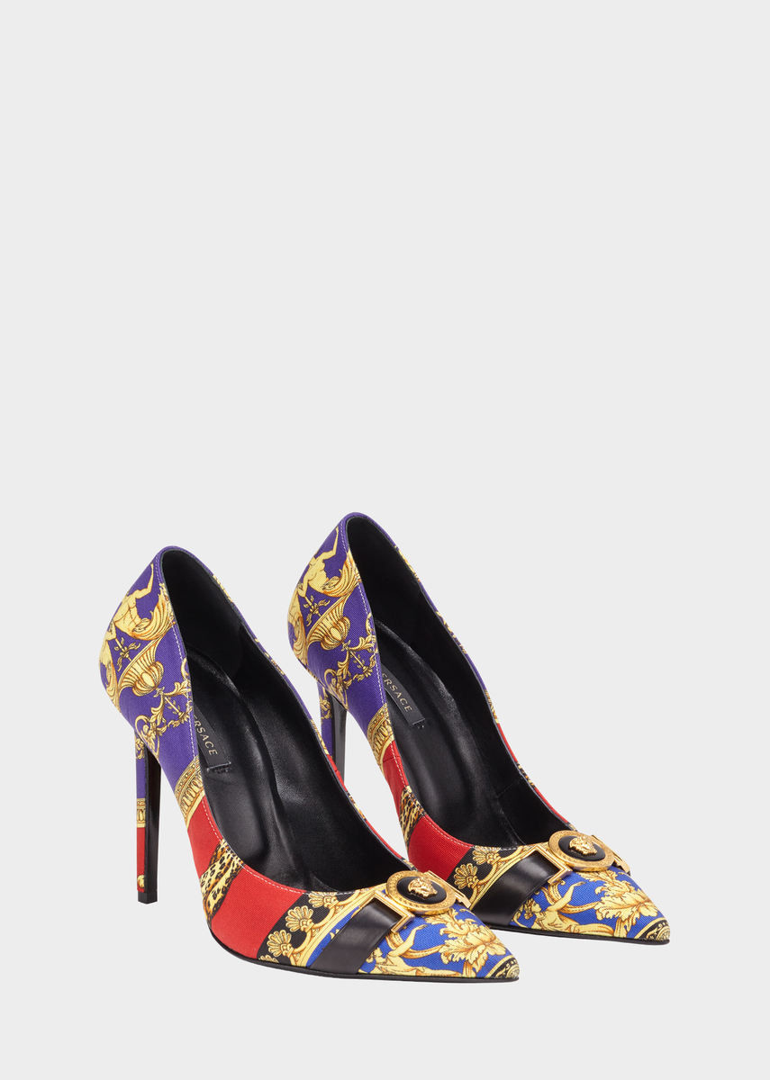 ab6a34b4f Pillow Talk Print Icon Pumps from Versace Women's Collection. Pointed silk  blend pumps feature leather lining. In Signature Pillow Talk Print with  round ...