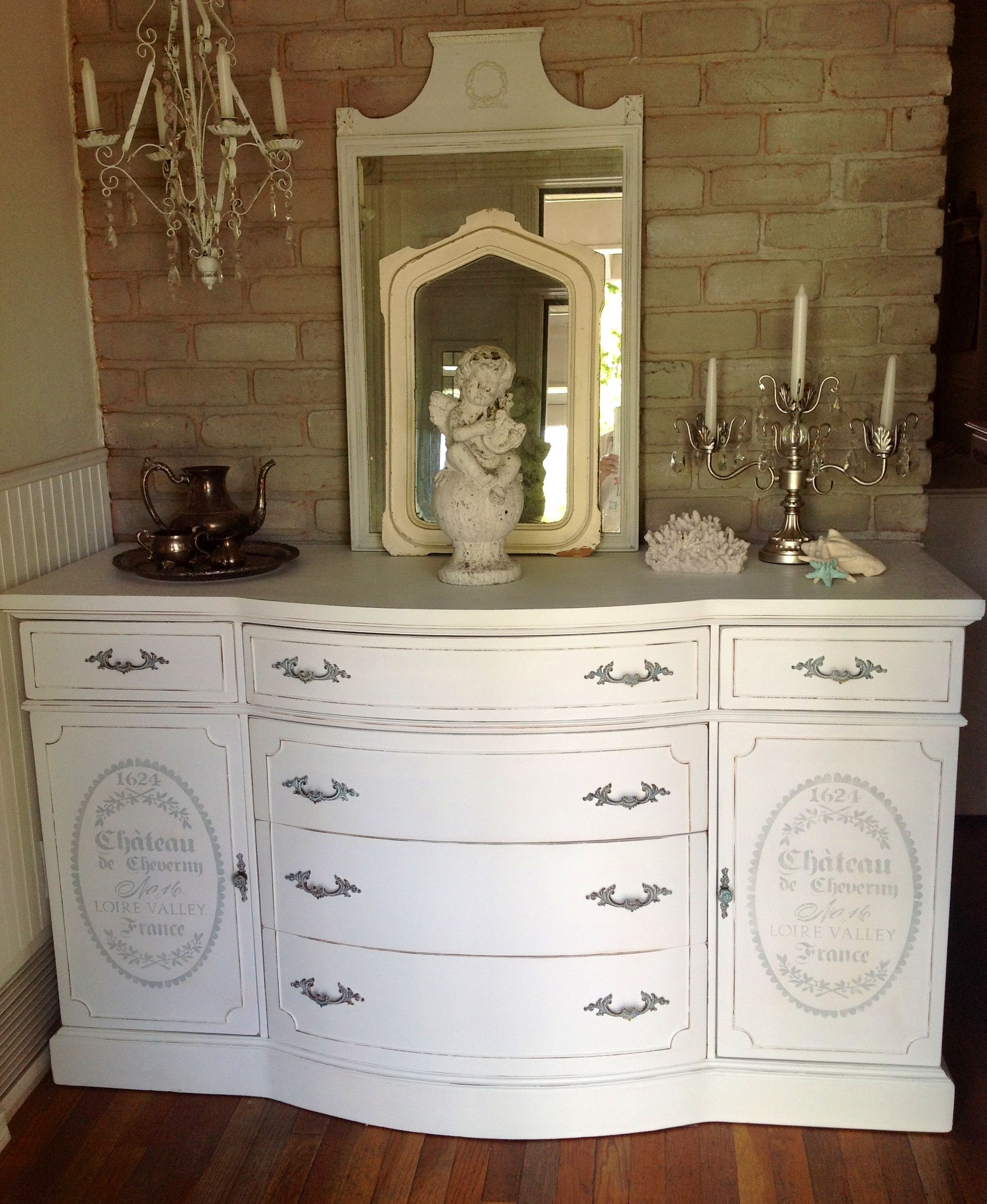 french distressed furniture. White Distressed French Provincial Buffet. Stencil In Paris Grey. Cottage Chic Furniture On