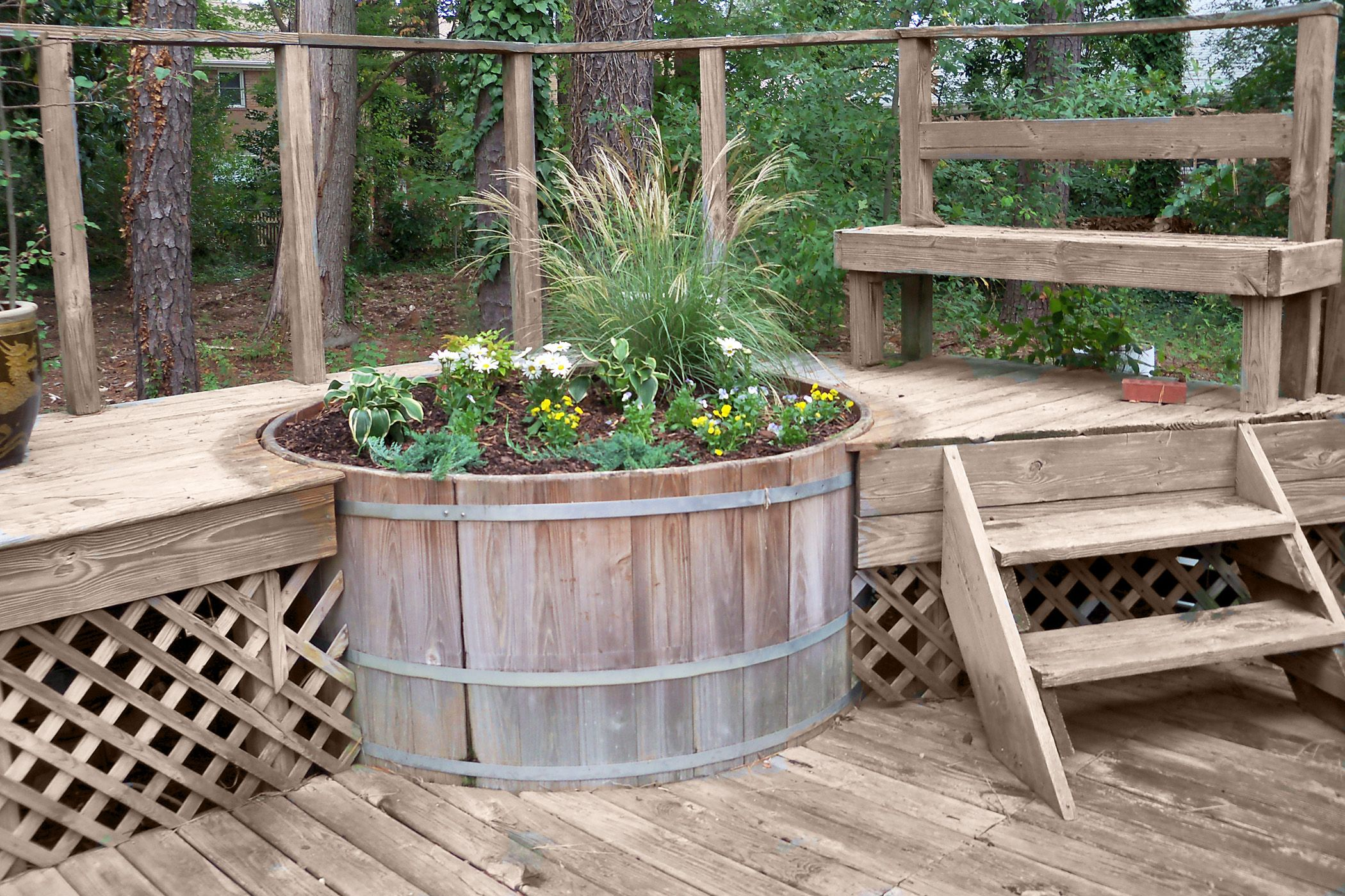 Turn An Old Hot Tub Into An Over Sized Deck Planter With Images