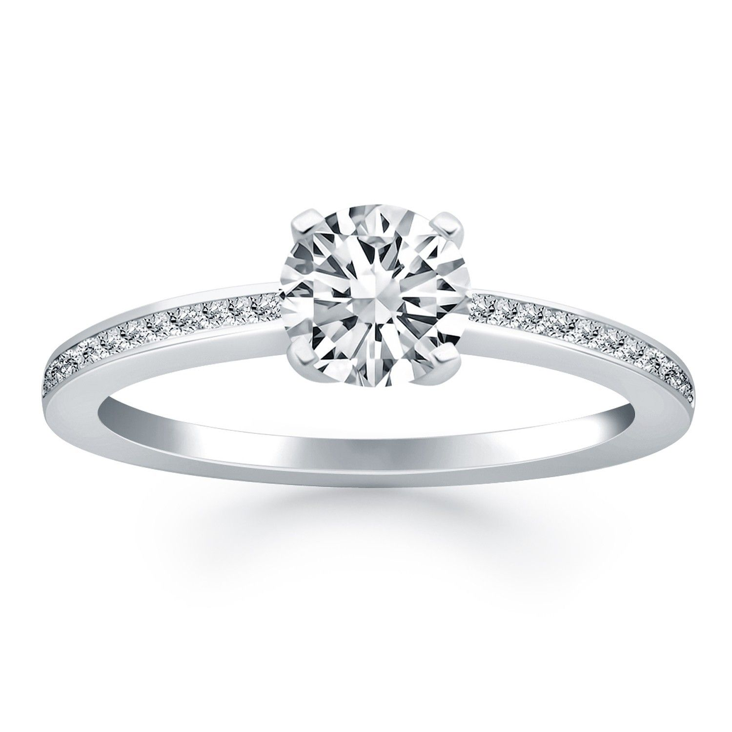 Nice k white gold classic pave diamond band engagement ring check