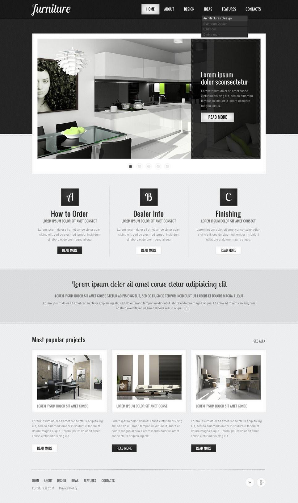 furniture psd template #41525 | website design layout, web