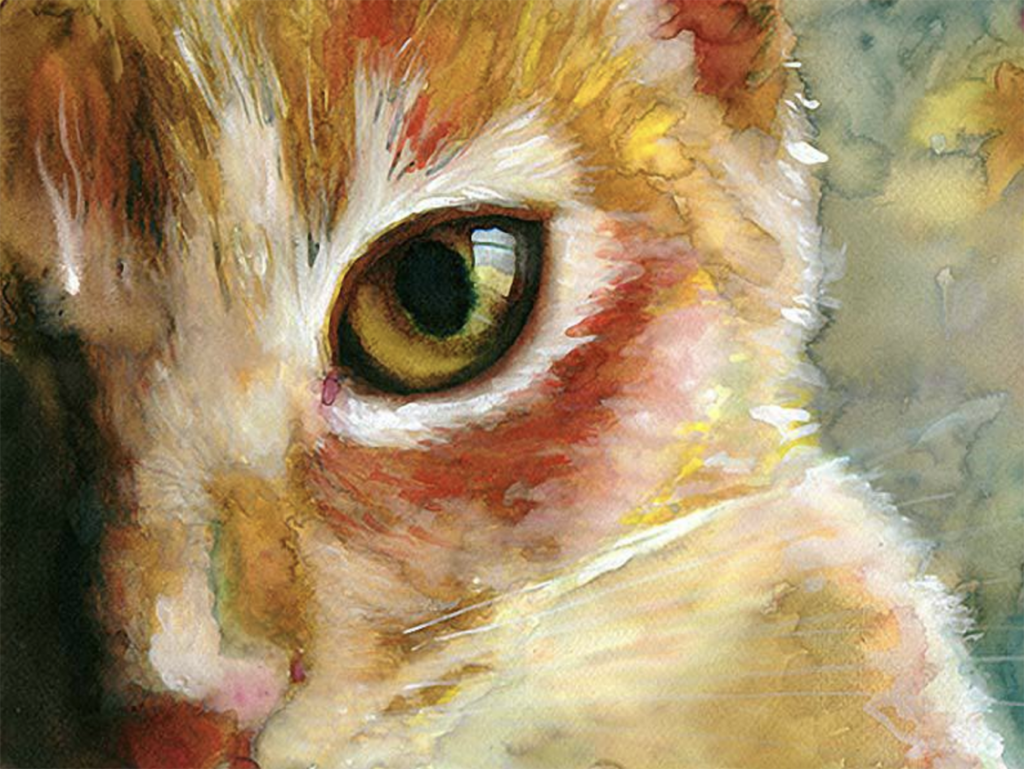 Find #inspirational #artwork at Gather Dream Create.....a site created by Teresa Kogut to help artists get inspired and learn new techniques. Spotlight is on Alex Carter who creates the most amazing cat watercolors. Click on the picture to see more of his work.  #artist #cats #watercolor