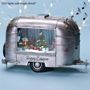Led lighted musical happy camper figurine by roman qt for Airstream christmas decoration