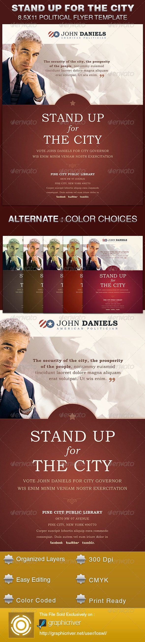 the stand up for the city political flyer template is sold. Black Bedroom Furniture Sets. Home Design Ideas