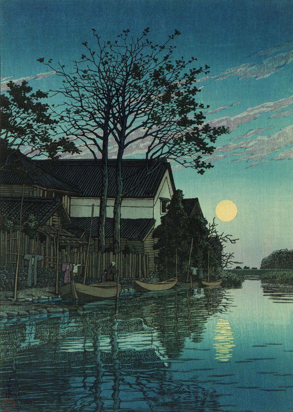 Kawase Hasui Twilight At Itako PaintingDrawing II