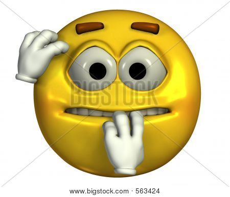3d render of a nervous emoticon  Picture - Royalty Free