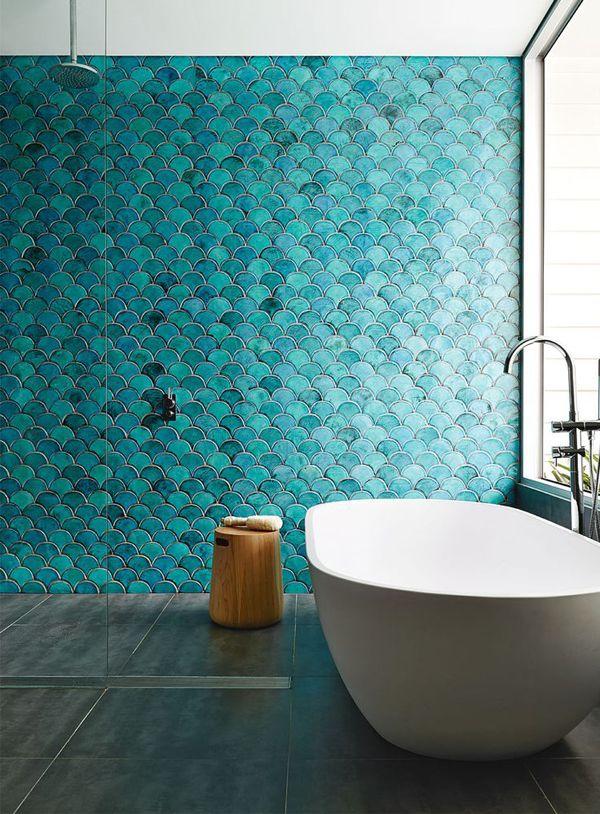 Blue tiles bathroom, http://decorextra.com/20-stylish-bathroom-tile-ideas/