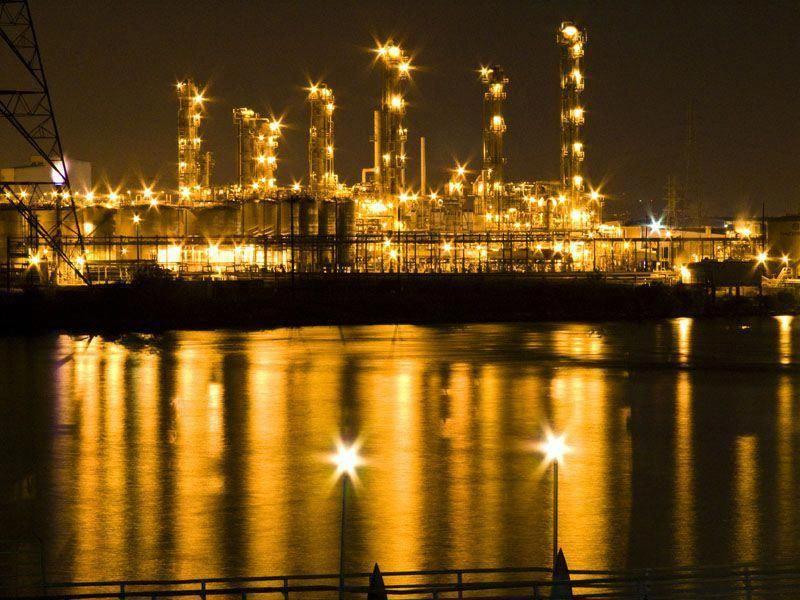 Oil refinery at night la porte texas