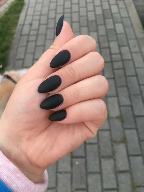 45 Awesome Black Almond Matte Nail Designs To Inspire You Acrylic Nail Shapes Matte Nails Design Almond Acrylic Nails