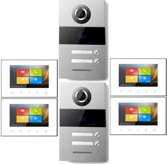Multi Family Building Video Intercom 2 Unit Doorbell Intercom System Doorbell