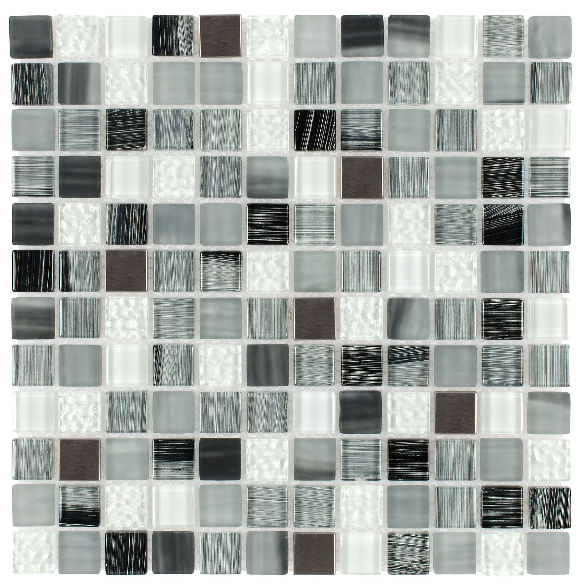 Mto0284 Hand Painted 1x1 Squares Black Gray White Glossy Glass