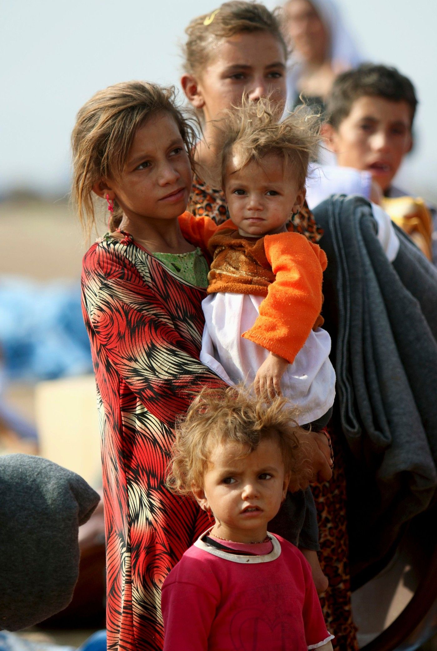 Yazidi Children On The Way To A Syrian Refugee Camp