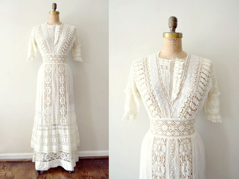 vintage 1900s dress - edwardian wedding dress / ivory lace tea dress.