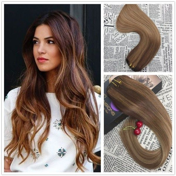 Moresoo 14 Inch Clip In Human Hair Extensions Balayage Colored 3 To