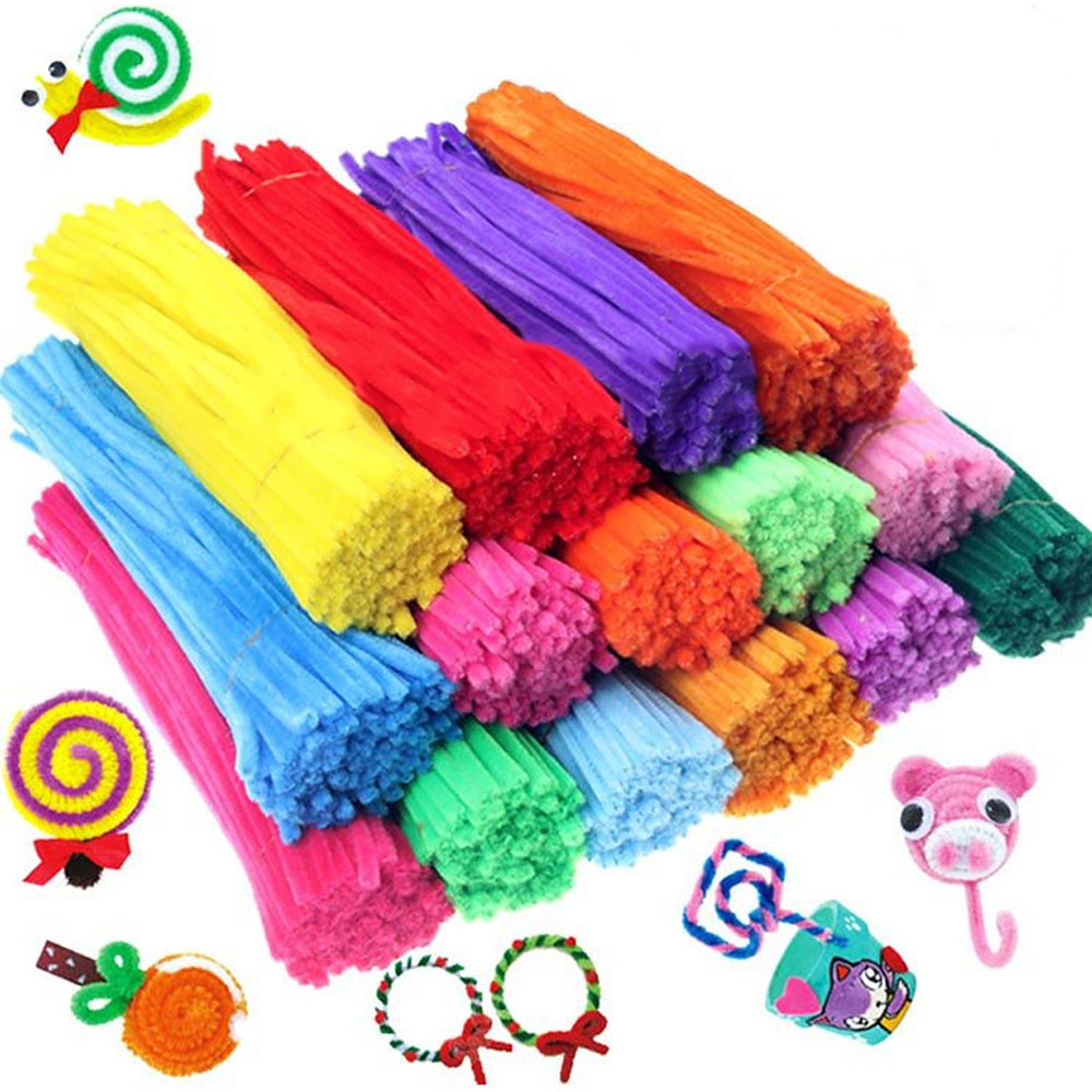 Sequin Chenille Stems Pipe Cleaners Crafts Supplies DIY Craft Material 100pcs