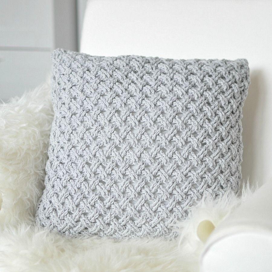 Crochet pillow, light grey, Drops Paris | Cojines, puff, crochet ...