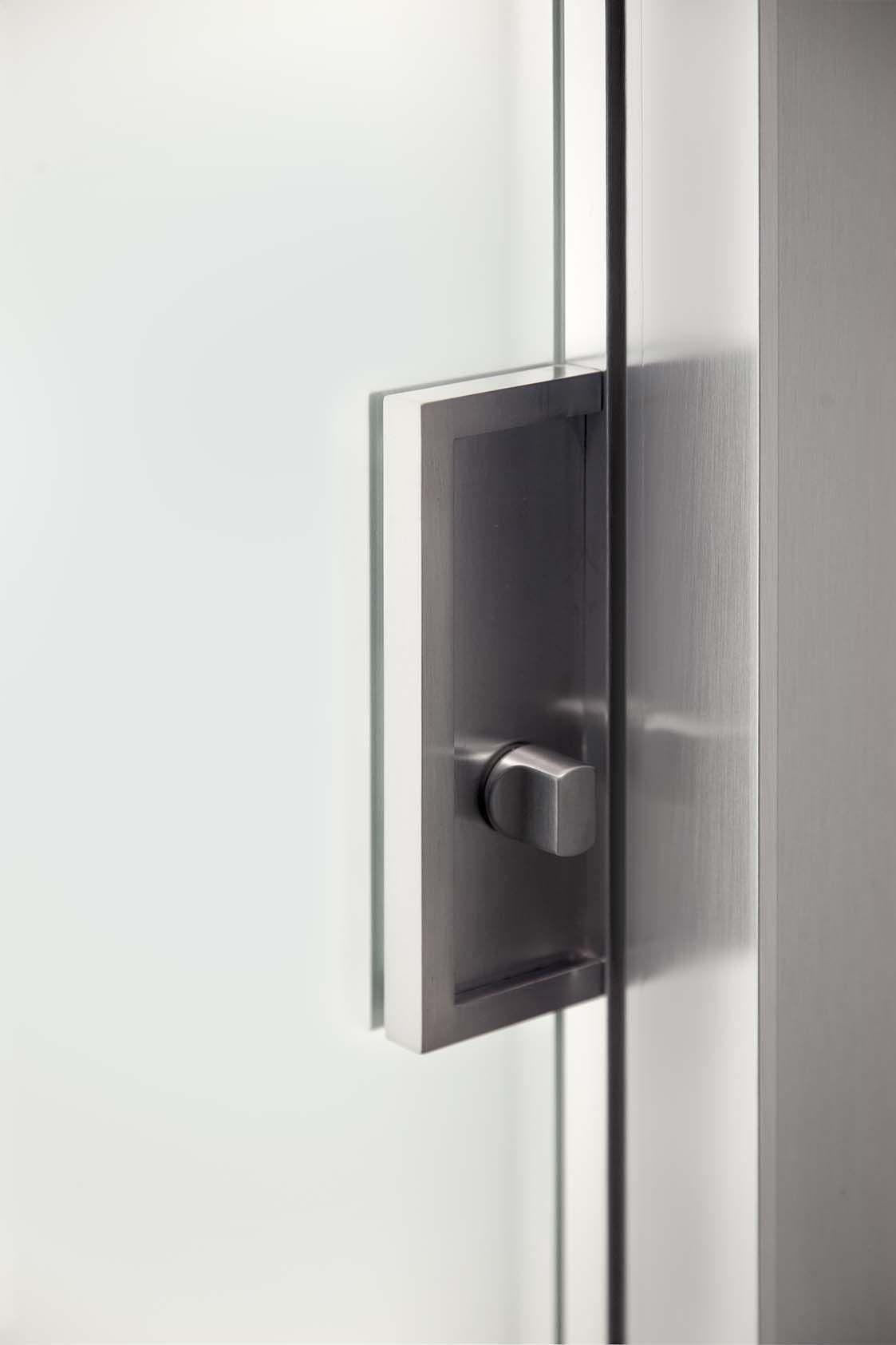 serratura porta scorrevole interno muro in alluminio e vetro acidato ...