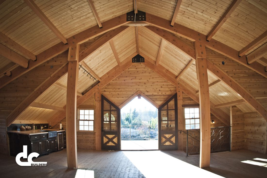 Custom timber frame barn with living quarters in sandy for Living quarters loft