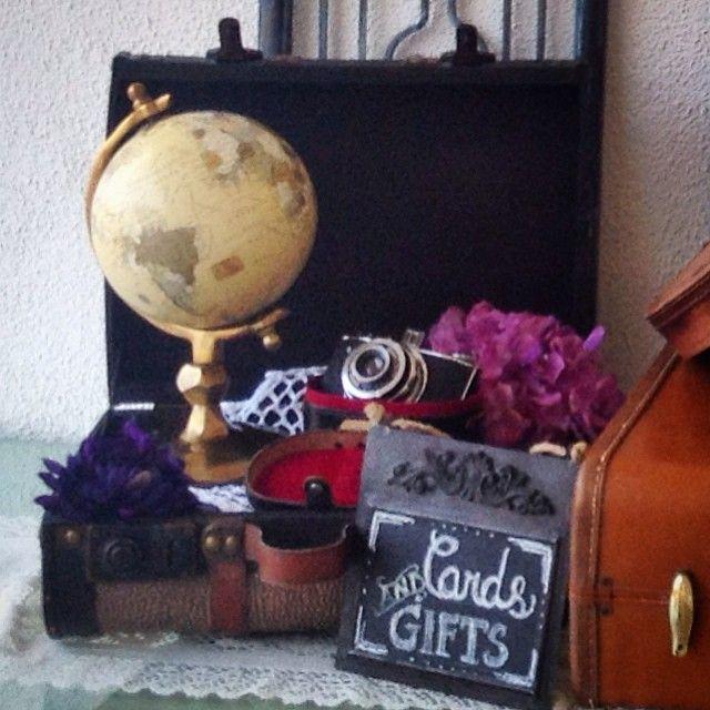 #vignette #villadeamore #globe #travel-theme #wedding #card-box #suitcase #camera #chalkboard