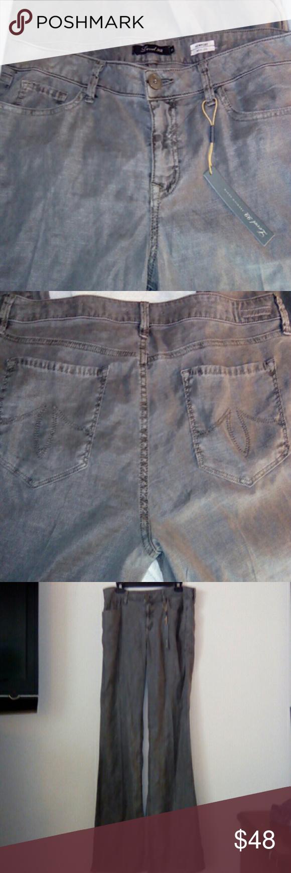 NWT Level 99 Pants Sz 31 Gray. 35 inch inseam. 51% linen, 46% tencel, 3% spandex. Newport Wide Leg. Level 99 Pants