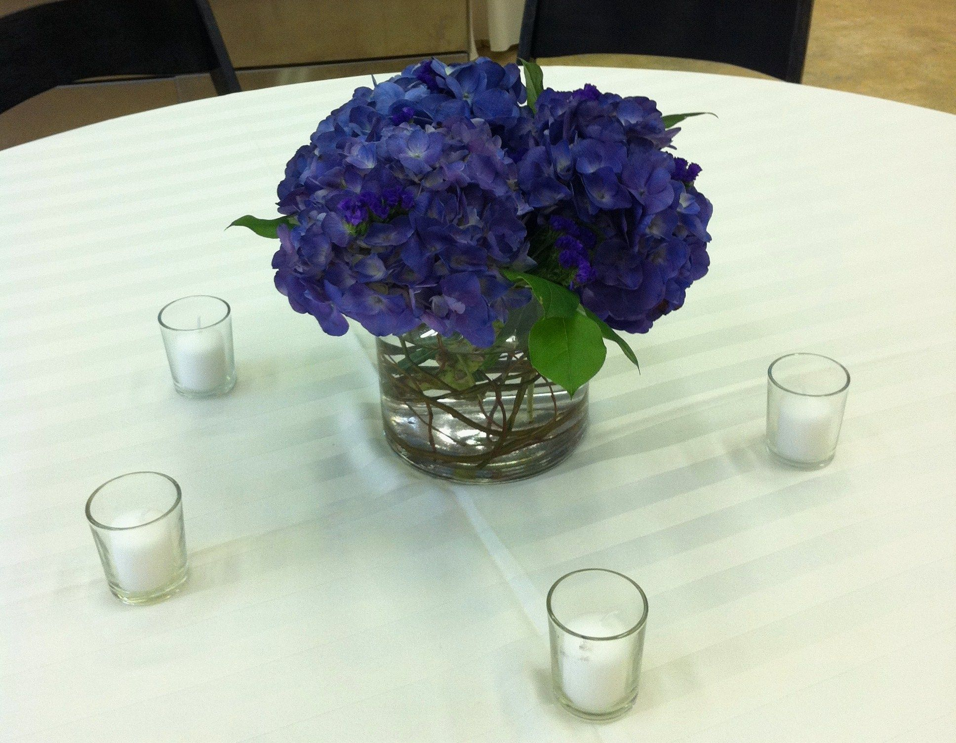 Short centerpiece dark blue purple hydrangea