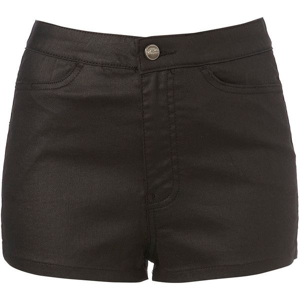MOTO Coated Siouxie Hotpants (1,360 MXN) ❤ liked on Polyvore featuring shorts, bottoms, short, pants, women, hot shorts, mini short shorts, high waisted short shorts, short shorts and high-waisted shorts