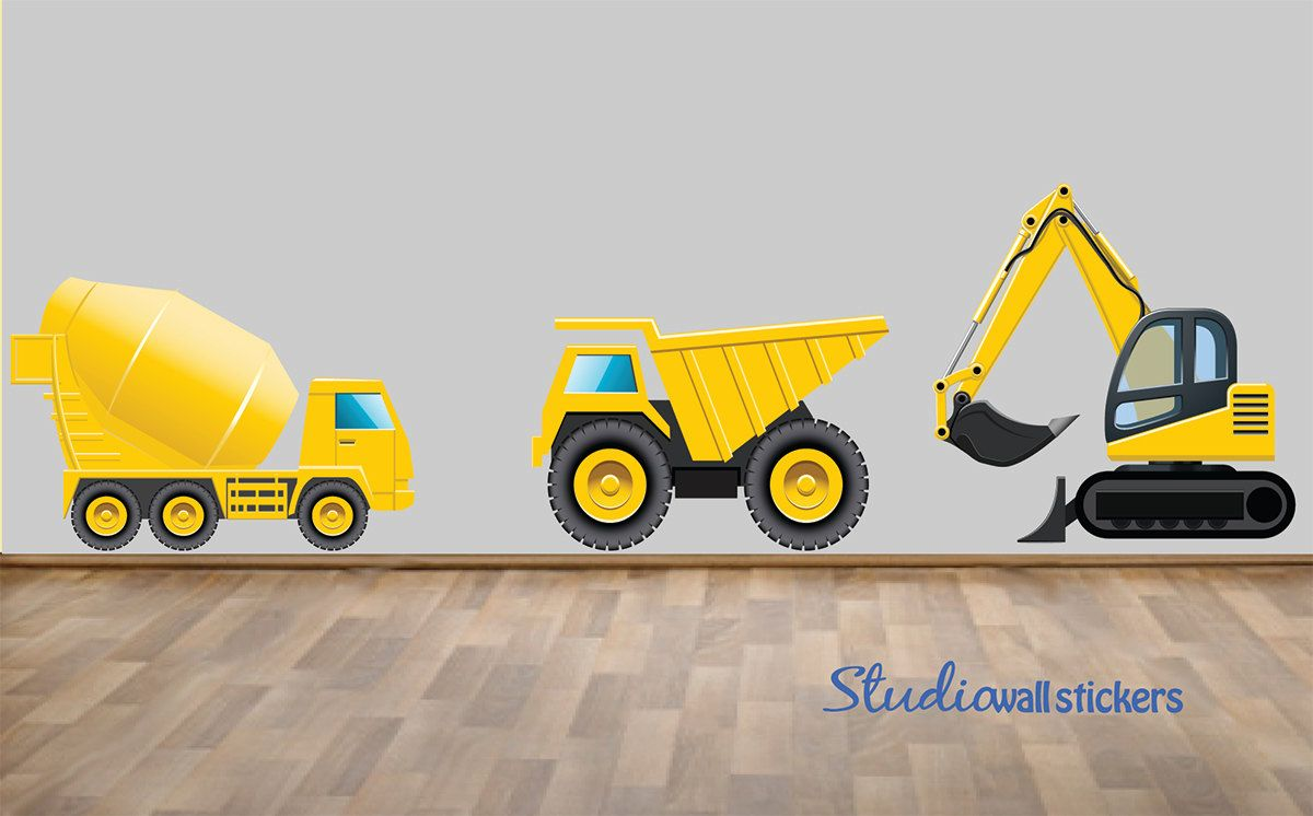 REUSABLE Construction Truck Wall Decals - Childrens Fabric Wall ...
