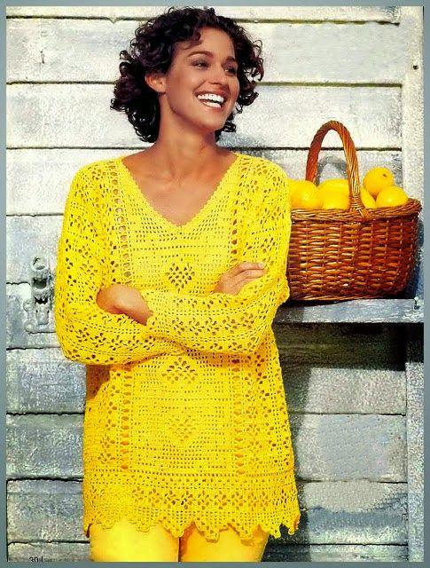 Irish crochet &: Красивый филейный пуловер