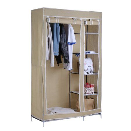 69 Inch Portable Fabric Closet Storage Organizer Clothes Wardrobe Shoe Rack With Cover Shelves Beige