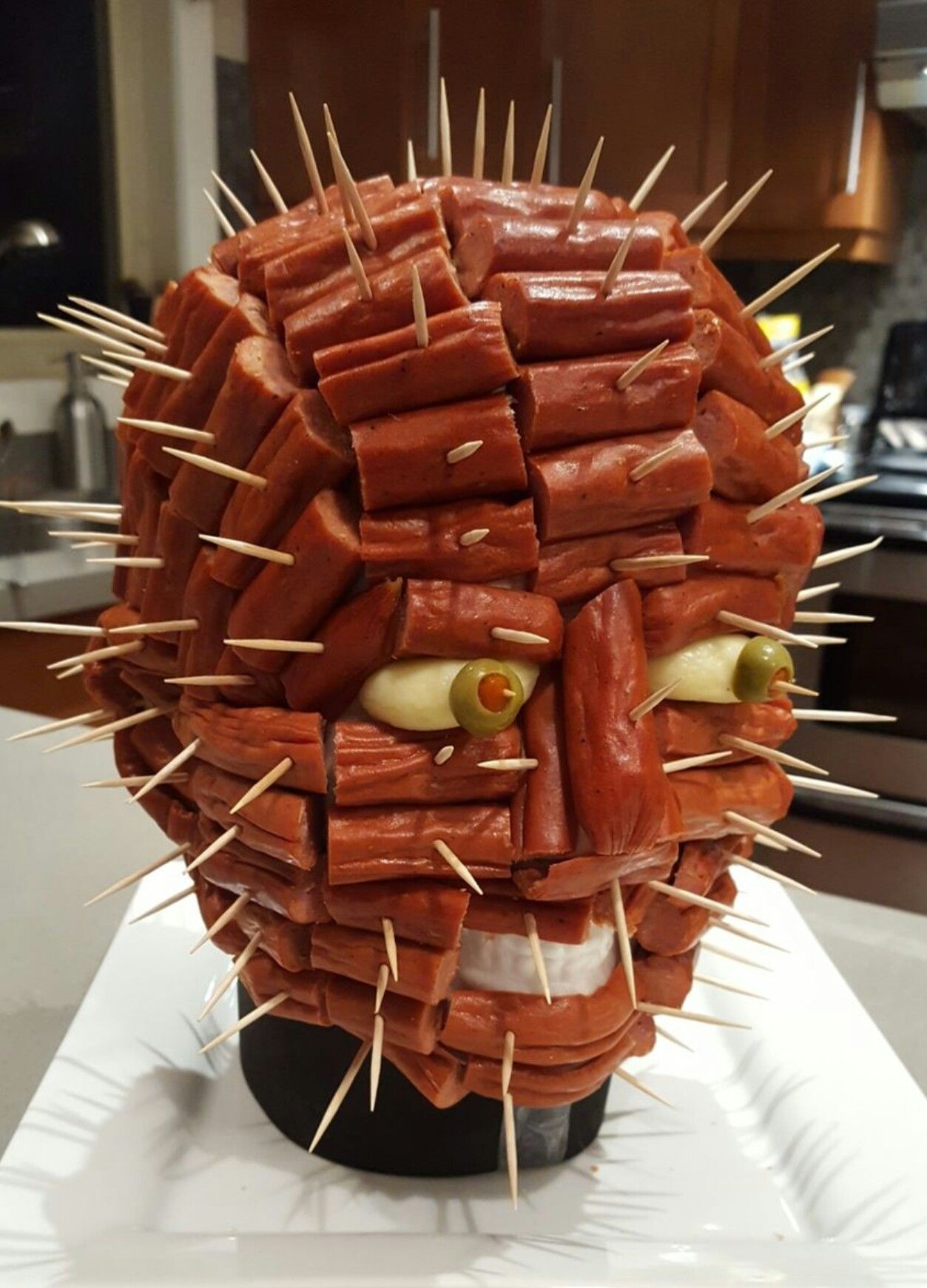 Pepperoni Pinhead from Hellraiser Halloween Appetizers
