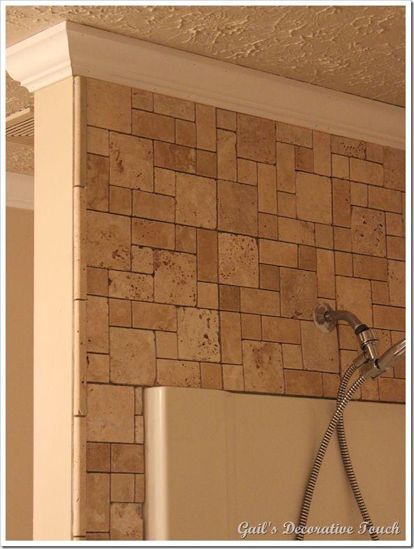 Tile around existing tub shower home bath pinterest for Fiberglass crown molding