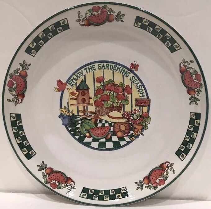 International Tableworks Gardening Season S/4 Dinner Plate Oven Proof  Stoneware