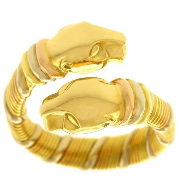Preowned Cartier Tricolor Gold Panthere Ring 3000 liked on