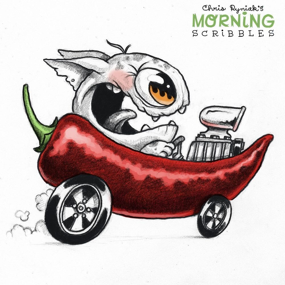 Chris Ryniak On Instagram Hot Rod Morningscribbles Cute Monsters Drawings Monster Drawing Cute Drawings