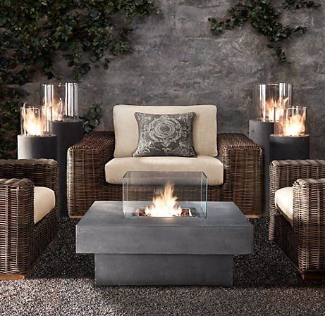 Laguna Concrete Propane Fire Table   Square $1495 From Restoration Hardware    Just Ordered This