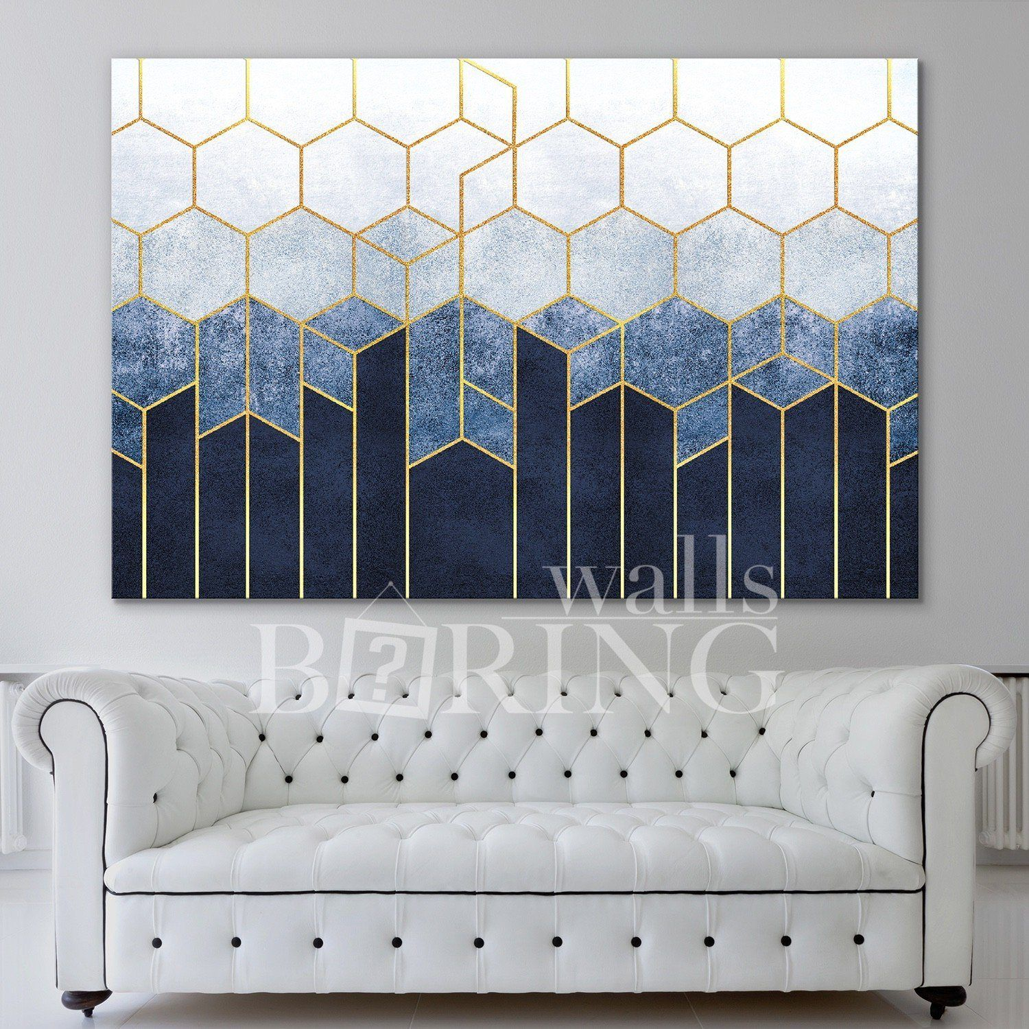 Photo of Navy Blue and Gold Geometric Wall Art – 1 Panel – W: 40 x H: 30 inch / 0.75 depth