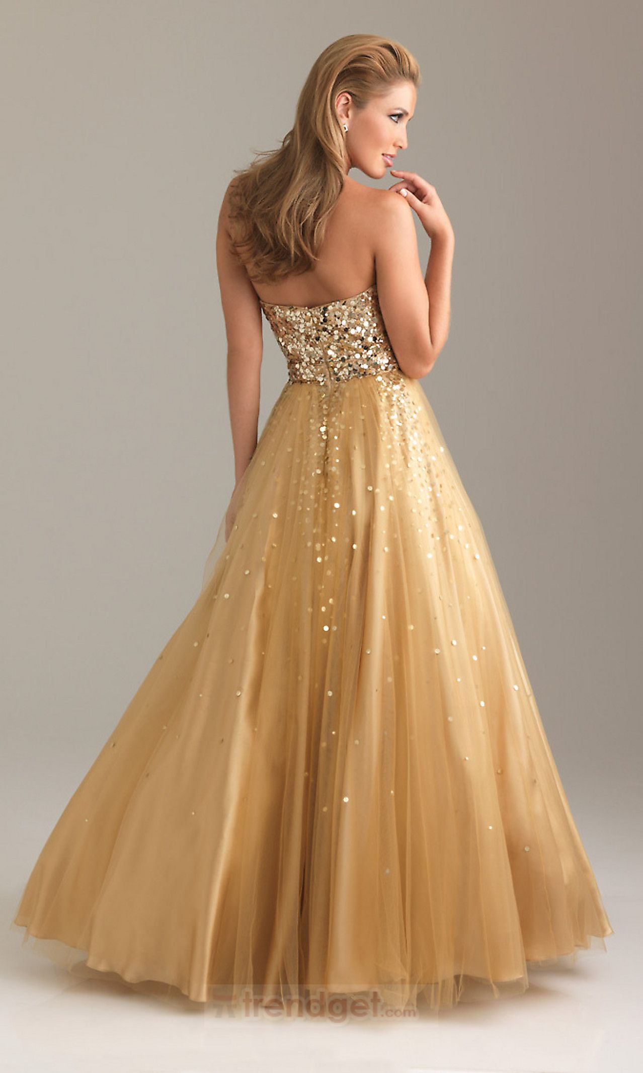 Attractive aline sweetheart floorlength organza gold prom dresses