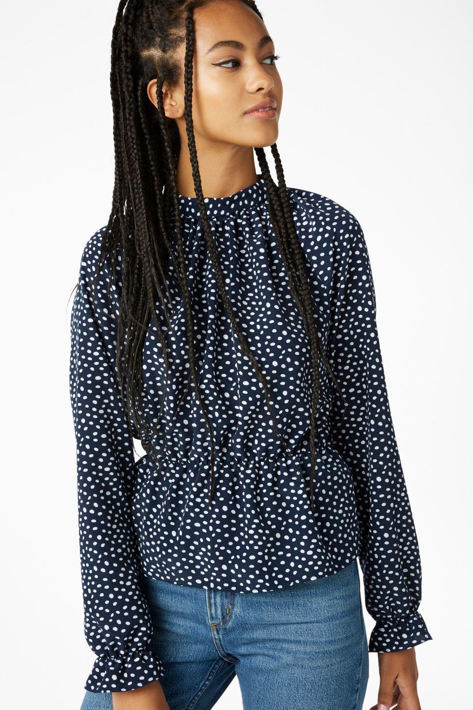 High Neck Polka Dot Blouse - Black and white Monki Discounts Cheap Manchester Great Sale zMfwY9bZH